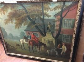 HV. British Hunt Painting, oil on canvas.