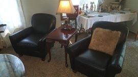 Pair Leather Chairs