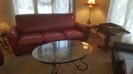 Nice Red Leather Sofa and Glass top Coffee and End tables