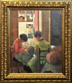 "An Original Figural Interior-scape Oil Painting by George Bramanta | Oil on Canvas | Entitled ""Girls Sewing"" 