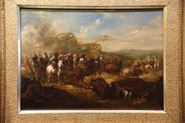 "18th Century Figural Landscape attributed to the workshop of Francisco Goya (Francisco José de Goya y Lucientes) | Entitled ""Conquistadors After Battle"" 