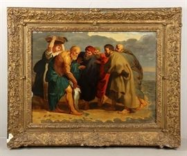"Early 17th Century old master oil painting from the Circle of Peter Paul Rubens, titled ""Saint Peter finding the Tribute Money"" 