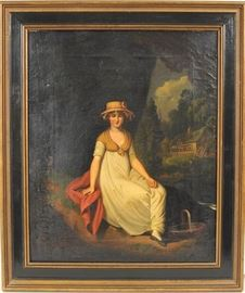 "Figural Landscape Oil Painting by listed British artist Matthew Haughton (English, 1772 - 1848) Entitled ""Woman in Straw Hat In Country Landscape"" 