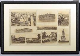 "Description: A Julius Bien engraving showing 8 Civil War scenes including Nashville Tennessee from the Southeast showing The State Capital; Fort on St. Cloud Hill in Nashville, Point of Lookout Mountain, Tenn., and sites in Georgia and Virginia (plate no. CSSIV from a Civil War related atlas). Sight – 17-1/4"" H x 28-1/4"" W. Matted and framed – 25"" H x 36"" W. Dimensions: 25"" H x 36"" W Artist or Maker: Julius Bien Medium: Engraving Provenance: From a Private Franklin, TN Collection."
