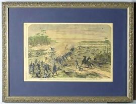 "Description: Tennessee Civil War History - Battle of Nashville, Harper's Weekly | Entitled: CHARGE OF THE THIRD BRIGADE, 1ST DIVISION, SIXTEENTH CORPS, AT THE BATTLE OF NASHVILLE, TENNESSEE | Sketched by George Ellsburym. Issue date Jan. 14, 1865 | Nicely framed and matted under glass | Measures: Sight – 10"" H x 14-3/4"" W. Matted and framed – 17"" H x 21-5/8"" W. 