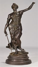 "Large original 19th Century French bronze sculpture depicting Lady Justice by the renowned well listed French Sculptor Clement Leopold Steiner, French, 1853-1899 | Monument sized statue 5.5 feet tall | Entitled ""Justicia"" 