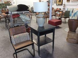 Cesca chair by Marcel Breuer, limed oak black retro table