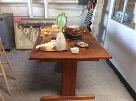 Teak dining table with pottery inlay