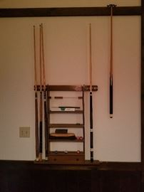 Pool Cues and Rack