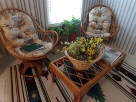 Wicker Chairs with Cushions and Matching Wicker Coffee Table + Wicker Basket + Plants