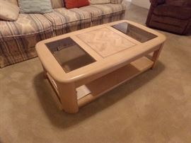 Blonde Wood and Glass Coffee Table