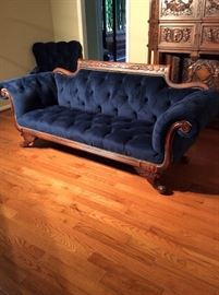 Neiman Marcus sofa velvet blue