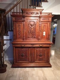 Stunning Antique Hand Carved Cabinet