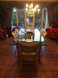 John McGuire Glass Bamboo Table  Beveled Glass 3/4 thickness height 29 Width 42 length 96 (Glass Table can be sold separately. Chairs are on hold sale is pending)