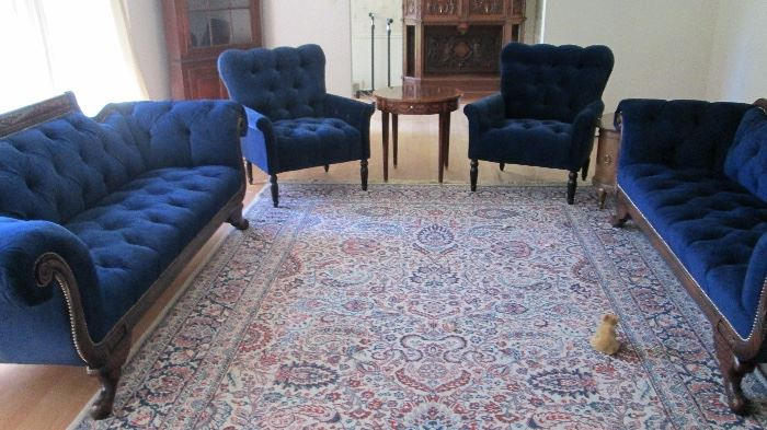 2 velvet blue sofas from neiman marcus $2,500 each price negotiable depending on sale and home owner. We do not receive a commission so the price is between you and homeowner. The Blue chairs have been sold.