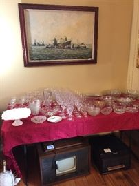 Antique TV, Radio, Crystal, Stemware, serving dishes