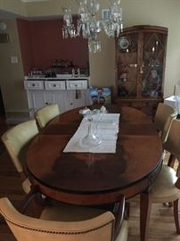 Dining Room Set, 3 pieces, 6 Chairs, 2 leaves (one apron leaf)
