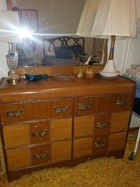 05 waterfall dresser and midcentury lamp