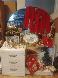 Art Deco vanity and lots of vintage and contemporary Christmas and Thanksgiving items