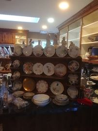 Hand painted plates, some Limoges, many Japanese, German and Bavarian