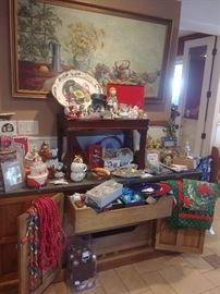 Large mid century sideboard, original painting, and vintage and contemporary holiday items