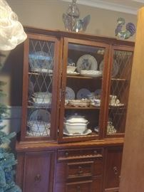 China hutch, Copeland Spode and Wedgwood china, Heidi Schoop rooster