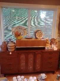 Mid-century side board/dresser with bamboo inlay, cookie jars, some McCoy