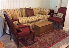 Down filled sofa, antique pine trunk, set of 4 upholstered  arm chairs