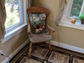 Pair antique pine arm chairs with cushions