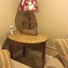 Round English pine side table .  Antique pine table lamp