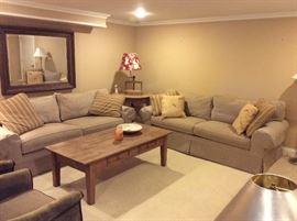 Set of taupe sofas, farm pine coffee table