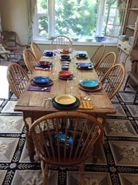 8 foot English fine farm table and a set of eight Windsor Chair Works Windsor chairs