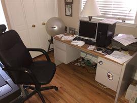 STEEL CASE OFFICE DESK, OFFICE CHAIR, METAL FILE CABINET