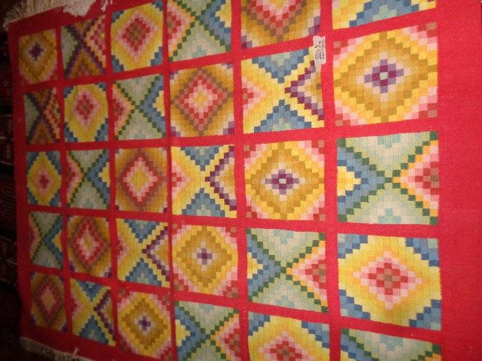 RARE GEOMETRICAL FLOOR RUG EXTREMELY SMALL WEAVE HAND WOVEN