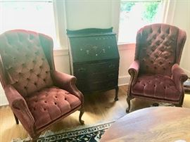 Pair of Wing Chairs and Antique Desk