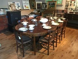Antique Dining Room Table and Antique Rush Seat Chairs (Sold Separately)
