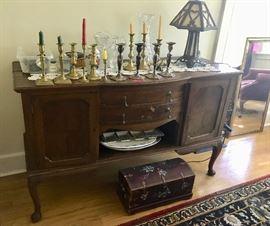 Antique Sideboard / Candlesticks  / Antique Lamp
