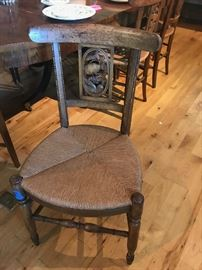 Set of Antique Rush Seat Chairs