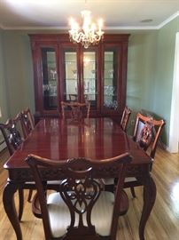 Table 6ft by 2 ft, cherry wood with 6 chairs.  Matching buffet 8 feet wide