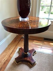 Antique inlay pedestal round table