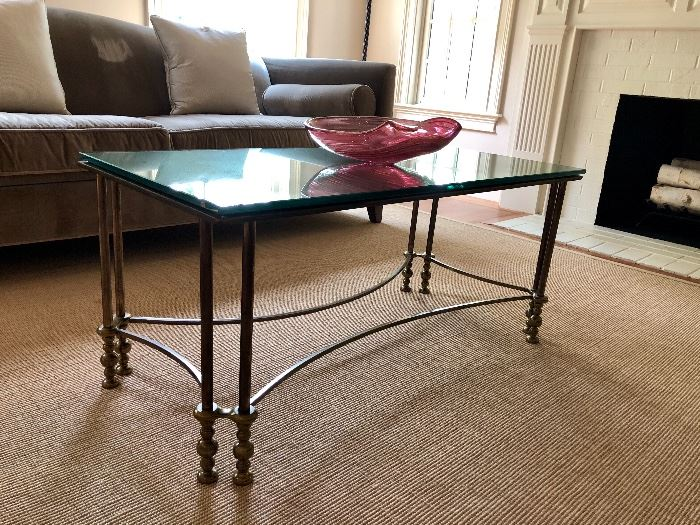 Bronze Coffee Table with Antique Mirror Top ca. 1940