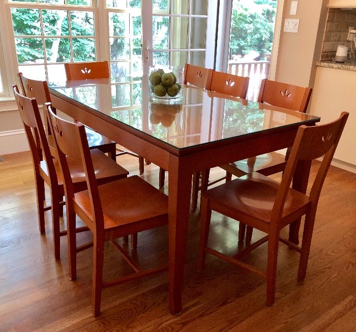 Calligaris - Made in Italy, Kitchen table with 8 chairs and protective glass top