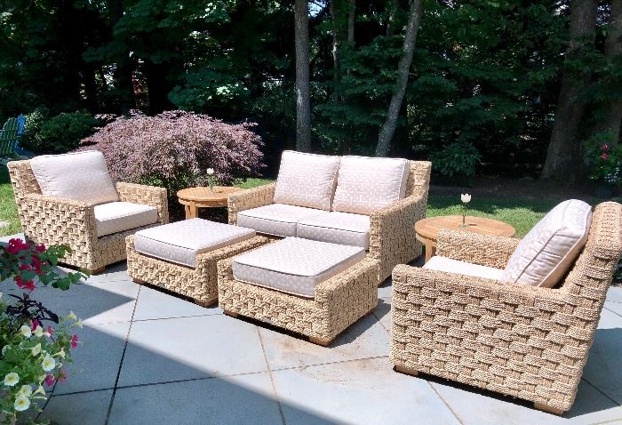 Kingsley Bate St. Barts: Features 2-seat settee with  woven rope base and thick, comfortable cushions wrapped by weather-resistant Sunbrella fabric.