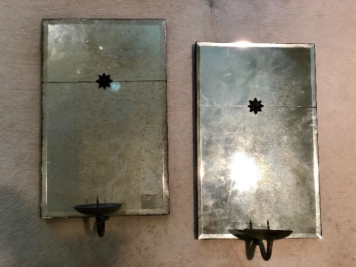 Wall sconces, antiqued mirror back