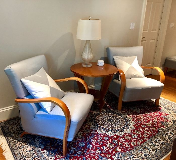 Casual, custom upholstered armchairs, - look how well this Oriental rug matches this fabric!