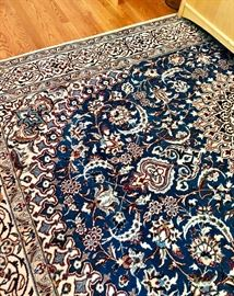 """Blue and Ivory Persian Tabas Wool Carpet 10.25 x 6.5"""""""