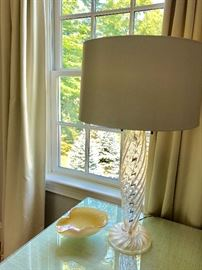 """Pair of Donghia """"Ondoso"""" table lamps with custom silk drum shades"""