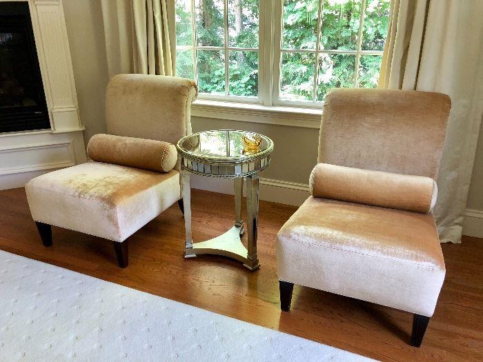 Mohair Velvet Slipper Chairs with back roll.
