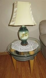 Pair Antique Ceramic Floral Lamps