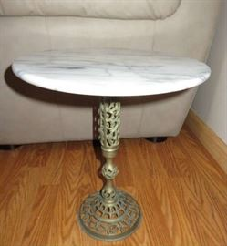 Vintage Marble Top Pierced Brass Pedestal Side Accent Table